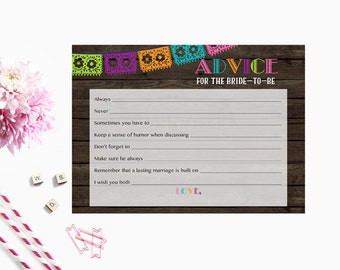Advice for the Bride to Be, Fiesta Bridal Advice for the Bride, Advice Card Instant Download PDF Printable