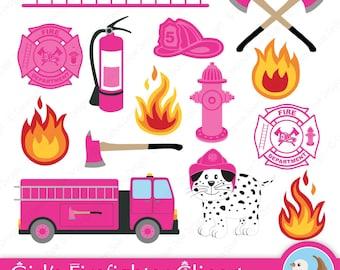 Firefighter Clipart - Fireman Clipart - Fire Station - Fire House - Girl Firefighter - Set of 14 Digital Clipart Designs
