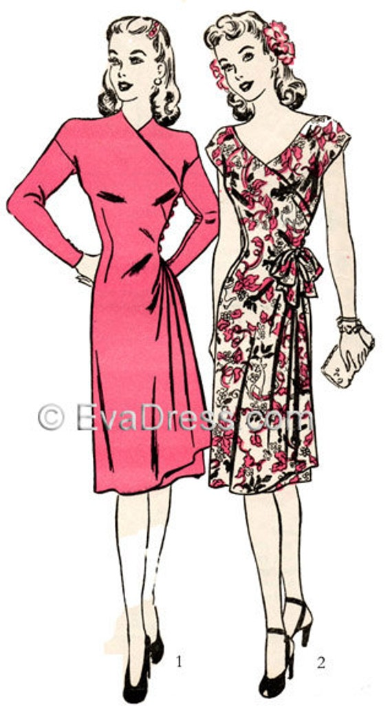 1940s Sewing Patterns – Dresses, Overalls, Lingerie etc 1943 Drop-Sleeve Wrap Dress-A Real Favorite! $25.00 AT vintagedancer.com