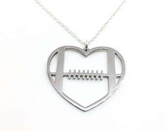 Heart Football Necklace, Football Necklace, Football Jewlery, Football Mom, Football Wife, Football Girlfriend, High School Football, NFL