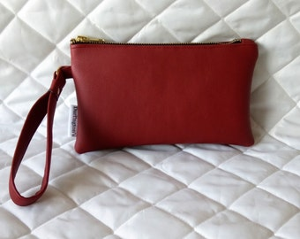 Red Faux Leather Wristlet
