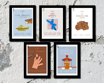 SET OF 3 OR 5 Wes Anderson high quality film prints (A5, A4, A3)