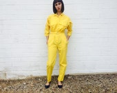 1980's Bright Yellow Workman Super Funky Jumpsuit