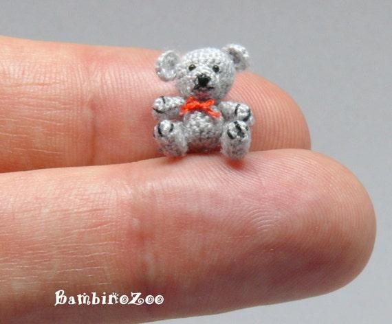 Amigurumi Mini Bear : Mini grey Teddy Bear Miniature amigurumi tiny Teddy Bear
