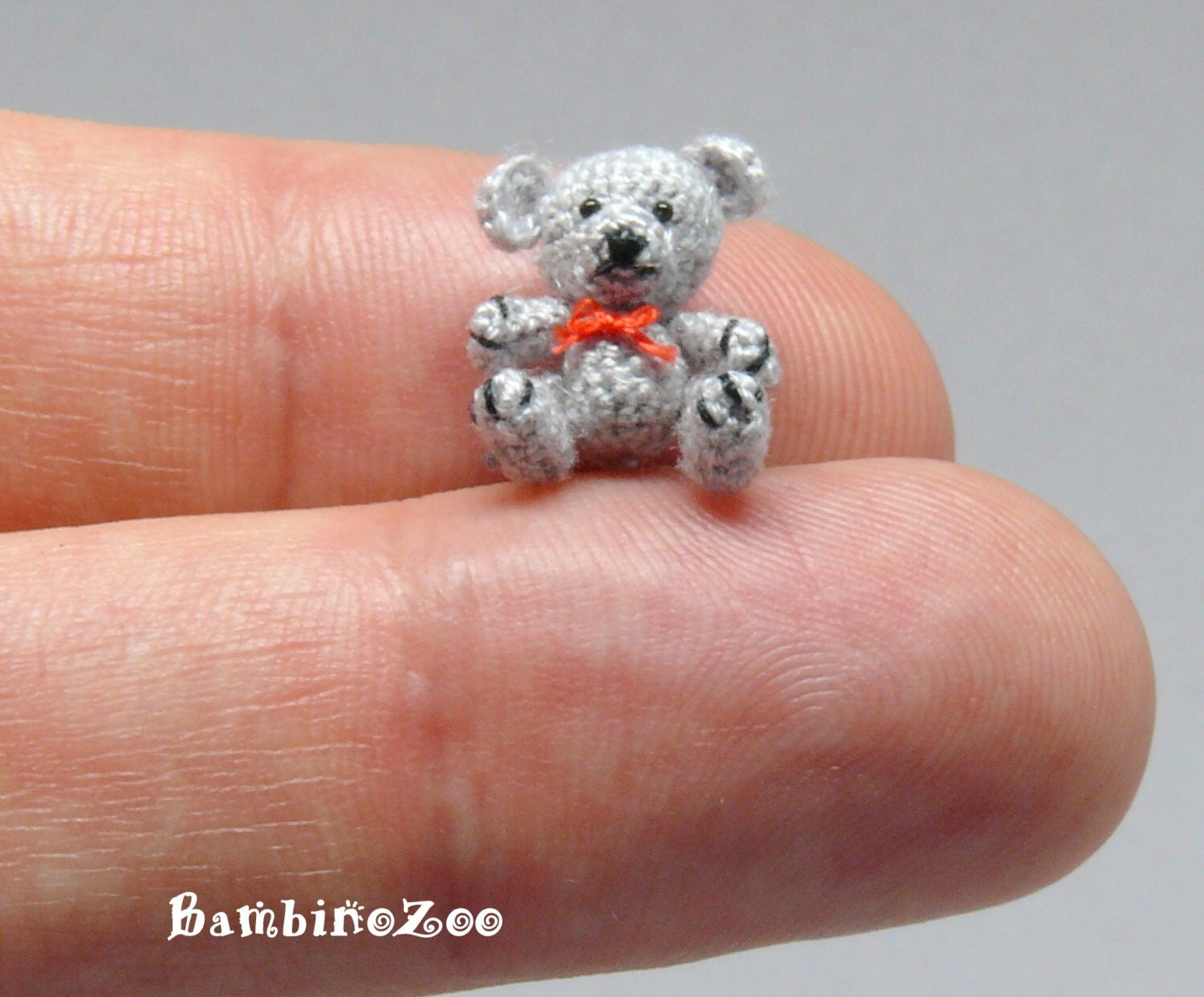 Mini grey Teddy Bear Miniature amigurumi tiny Teddy Bear