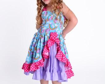 Girls Unicorn Dress - Girls Rainbow Dress - Toddler Unicorn Dress - Toddler Rainbow Dress - Girls Dress - Girls Boutique Dress - Party Dress