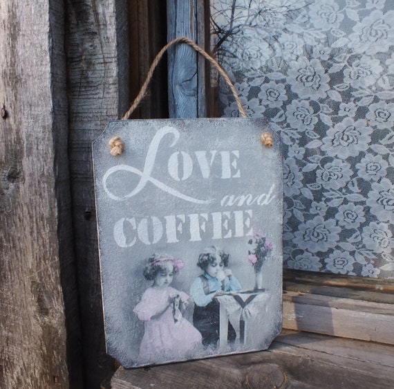 Wall Decor Kitchen Decor Coffee Bar Sign Wooden Signs Love Sign Rustic