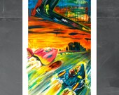 F-Zero Nintendo Art Print, 13x19, videogame, FZero, Cole Brenner,Nintendo, Game Room, Original Art, geek,gift for gamers, cole brenner