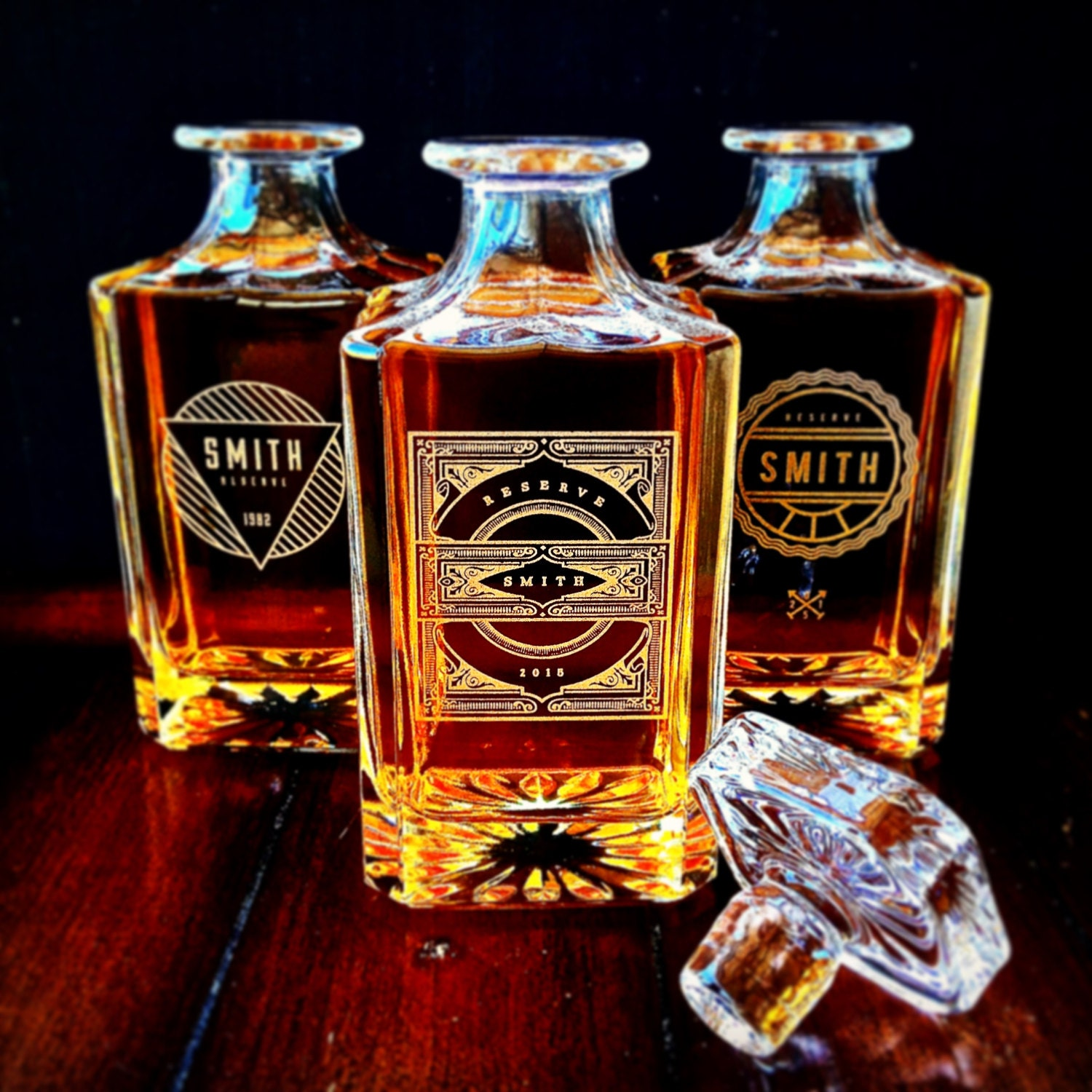 groomsmen gift personalized whiskey decanter set a