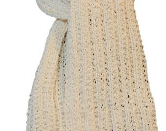 Hand Knit Scarf - Natural White Cody Trail Ridge Rib Mountain Meadow Wool
