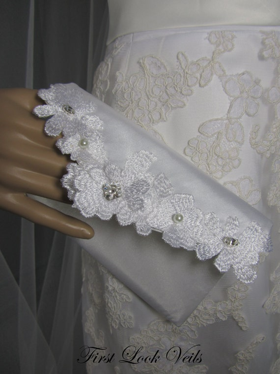 Bridal Clutch, White Clutch, Swarovski Elements Accents, White Lace Purse, Bridal Accessory, Women' Accessory, Mother Of The Bride Gift
