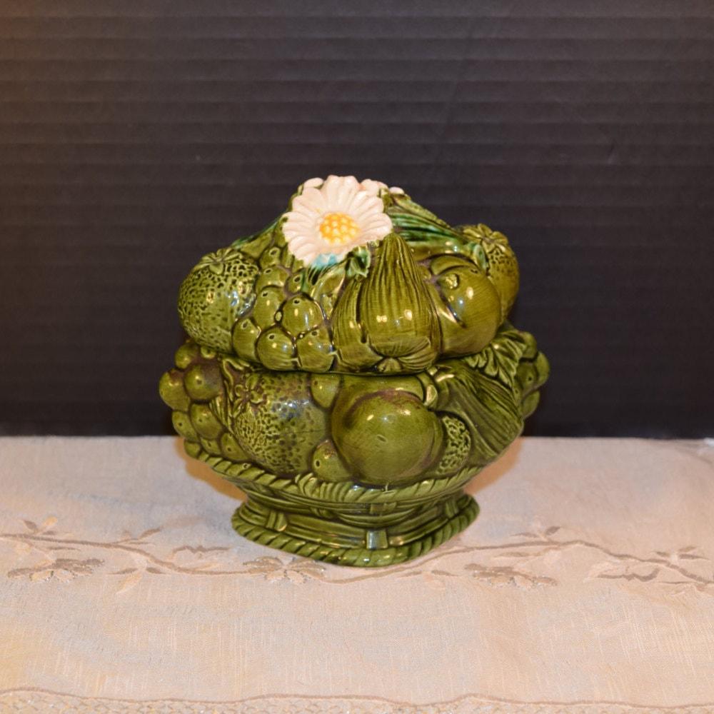 Fruit Daisy Jar Vintage Japan Green Sugar Jar Container