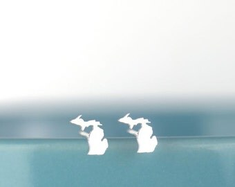 Petite Michigan Earrings, Cute Helix Stud Earring, I heart Michigan, Detroit Pride