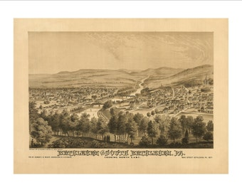 """Bethlehem Pennsylvania in 1870 Panoramic Bird's Eye View Map by G. A. Rudd 22x17"""" Reproduction"""