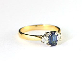 3 Stone Sapphire and diamond engagement ring handmade 3 stone in 18 carat gold unique alternative for her