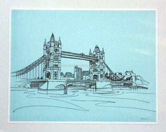 London print of Tower Bridge 8x10, London England architecture, Anglophiles gifts, English decor, London skyline