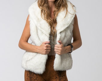 White Faux Fur Women Vest, Boho Vest, Womens Vest, White Fur Vest, Boho Chic, Fall Winter  Clothing