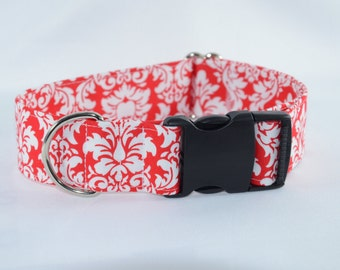Red & White Dandy Damask Adjustable Dog Collar - buckle or martingale, Personalized, Engraved, ID Buckle