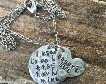 I used to be his angel, now he's mine. Daddy's Girl necklace. Personalized Sympathy Gift. In Memory Of Jewelry. Sympathy Necklace.