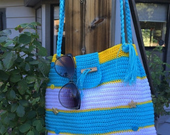 Summer Beach Bag, Crochet Tote Bag, Crochet Purse, Tote Bag, Shoulder Bag, Womens Accessories, Womens Purses