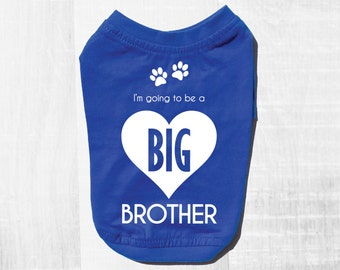 Going To Be A Big Brother Dog Tee. Soon To Be Dog Big Brother. Royal Blue Dog T-Shirt For Expecting Mothers. Small and Large Dog Clothes.