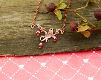 Valentine's day gift for her Bird necklace Bird pendant lariat Minimalist style Red necklace copper birds Minimalist Jewelry Bird jewelry