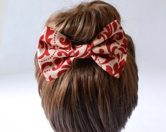Bow for Hair | Fabric Hair Bow | Red Bow | Hair Bows for Teens | Adult Hair Bow | Large Hair Bow | Hair Bow Clip | Bows for Girls