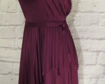 Size 12 1970s Purple Plum Polyester Spaghetti Strap Dress, Natural Elastic Waist, Below Knee Skirt, Accordion Pleats, Sash