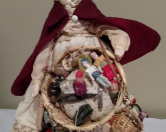 "Millinery 12"" Peg Doll, Gypsy selling her wares, Great Piece!"
