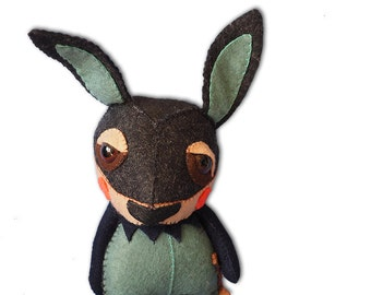 Suki the Rabbit - handmade plush creature plushie toy - unique birthday gift