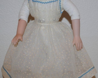 "Vintage Doll Dress, 1940's Handmade Dresses For a 16"" Doll, Doll Dress, White Dotted Swiss Organdy Doll Dress, Shear Doll Dress With Trim"