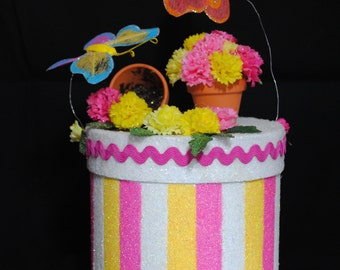 "Gardener's Gift Box, Forever Keepsake, Decorated Box with Colorful, ""Pots of Posies"", Springtime Unique,  Butterflies, Garden Lover"