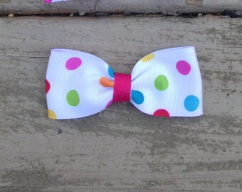 Polka Dot Multi Color Pigtail Bow