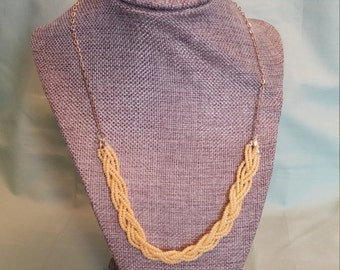 Thin braided bead necklace