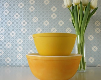 SALE 20% Off Two Vintage Yellow Milk Glass Mixing Bowls by Pyrex