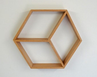 Hexagon Wooden Shelf // Geometric Shelf // Maple