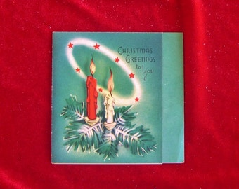 1940's Art Deco Font & Candles Christmas Greeting Card Gorgeous Art and Colors!