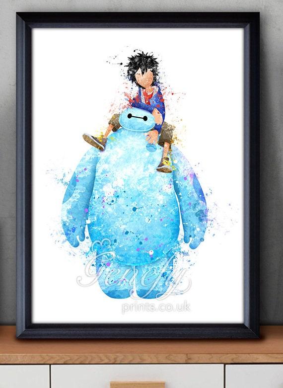 Disney Big Hero 6 Baymax And Hiro Watercolor Poster Print
