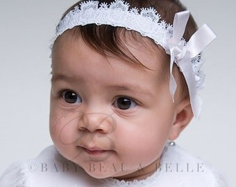 Melissa Lace Headband, White Lace Headband