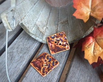 2 Ceramic Square Chunky Knit Buttons | Rustic Square Stoneware Buttons Autumn Color | Ceramic Accents for knit ware | Bracelet Fasteners