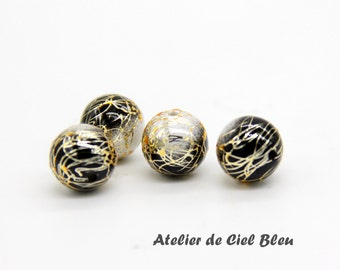 10mm Japanese Arabesque Beads, Gold Line Black Arabesque Beads, Black Acrylic Beads, Japanese Beads, Tensha Beads, Made in Japan