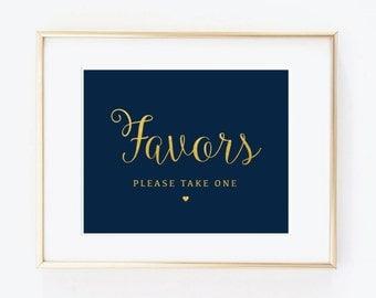 Wedding favors sign, gold foil calligraphy, navy blue, wedding sign, shower sign, DIY Printable, INSTANT DOWNLOAD