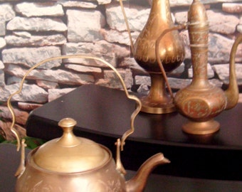 Vintage Old Brass Etched Flower Small Tea-pot, Home Decor