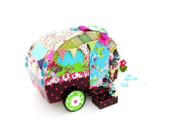 Colored caravan decorative object of collection