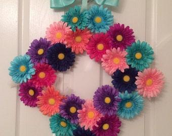 Colorful Daisy 12 inch Square Wreath