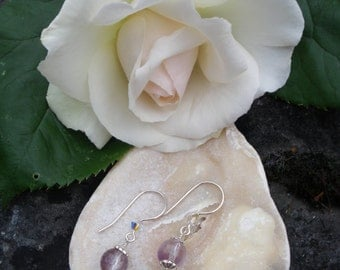 Amethyst/Sterling silver earrings./February birthstone/Birthday gift/Mother's Day gift.