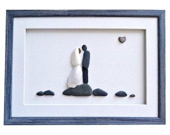 Unique wedding gift, Wedding pebble art - bride, groom and genuine heart shaped beach stone, Wedding shower, Couples gift, Wedding gift idea