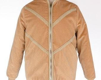 1970s Men's Sherpa Lined Tan Corduroy Jacket