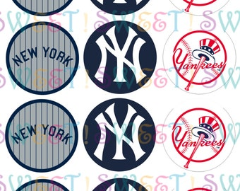 "Edible New York Yankees 2.5"" Round Cupcake or Cookie Toppers - Wafer Paper or Frosting Sheet"