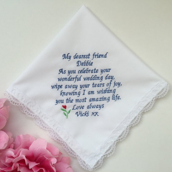 Wedding Gift For Bride From Best Friend : Wedding Bridal Handkerchief Gift For Best Friend/Flower Design ...